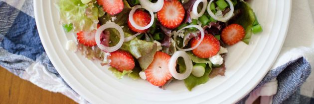 CSA Week 7: Strawberry + Pickled Spring Onion Salad