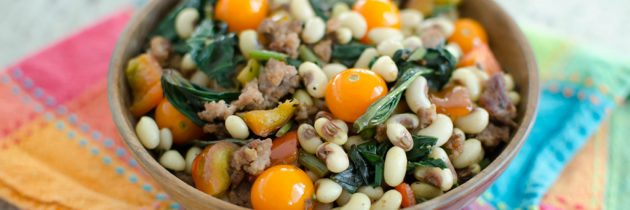 $10 Dinner: Black Eyed Peas with Sausage and Sweet Potato Greens