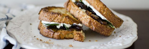 Caramelized Onion + Goat Cheese Sandwiches with Crispy Sage