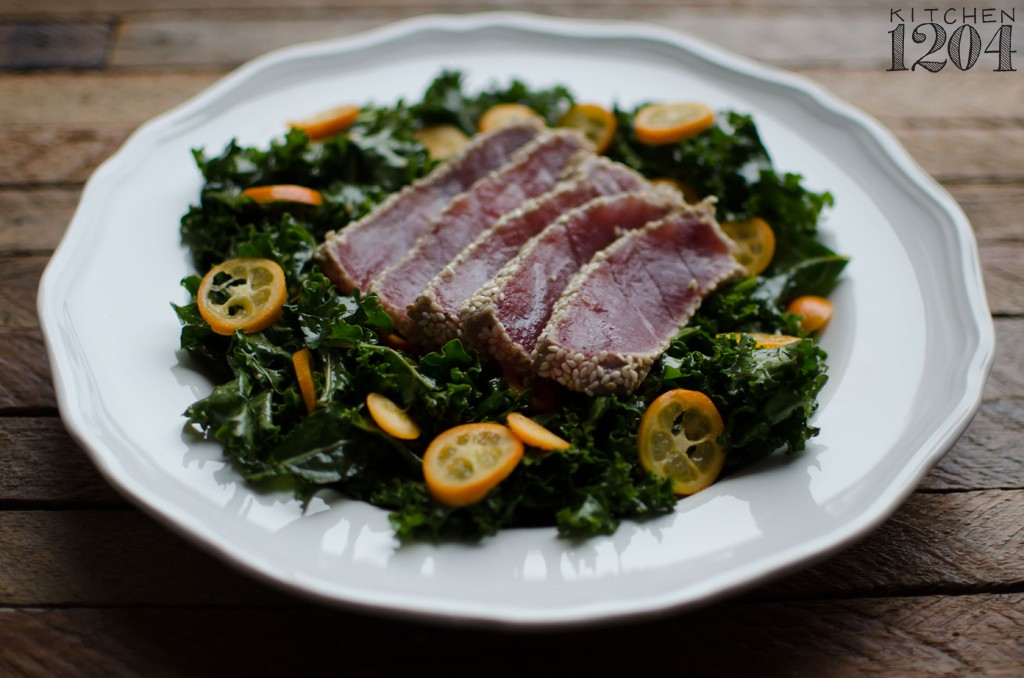 Sesame Seared Tuna with Ginger-Soy Kale + Kumquats | Kitchen 1204