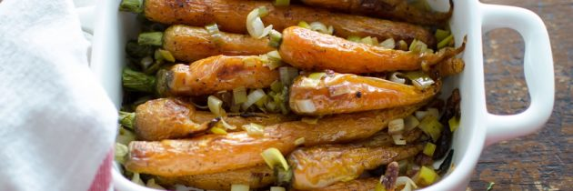 Roasted Carrots with Leek + Bacon Vinaigrette