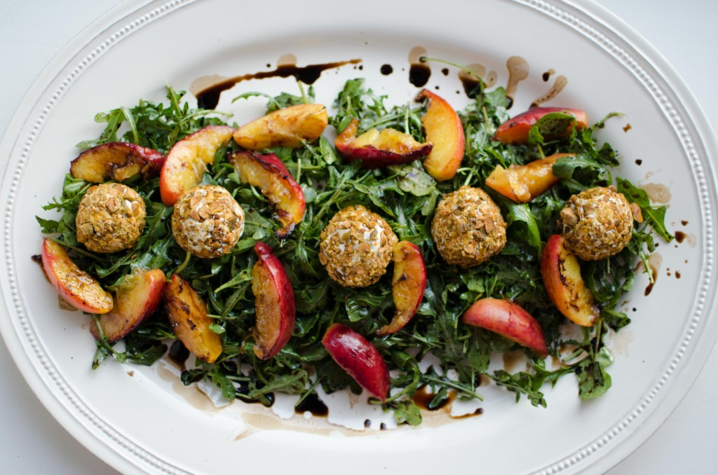 Peach + Arugula Salad with Pistachio-Crusted Goat Cheese