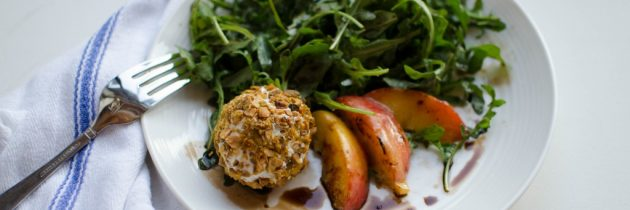 Arugula + Charred Peach Salad with Pistachio-Crusted Goat Cheese