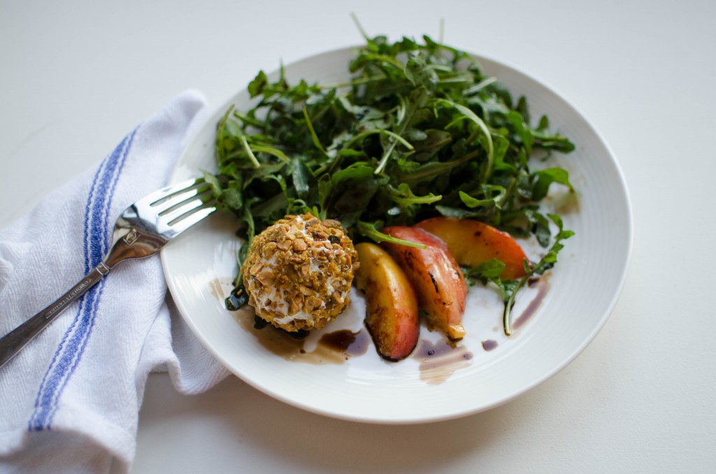 Arugula + Charred Peach Salad with Pistachio-Crusted Goat Cheese | Kitchen 1204